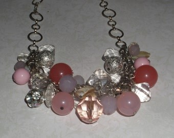 Pink Baubles on SIlver Plated Chain Necklace