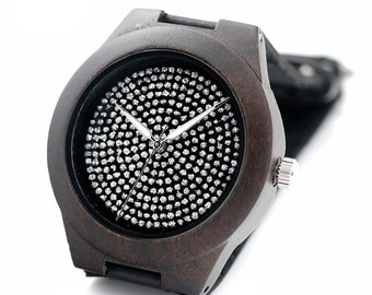 Very special ladies' watch in deep dark brown with rhinestone and black leather strap