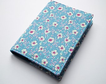 A6 Notebook Cover, Fabric Book Cover, Diary Cover, Planner Cover, Removable Book Cover, Blue Floral Cotton, Free UK Shipping, UK Seller