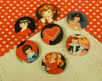 "Cloth Covered - Retro Valentine - Wireback Buttons - 1-1/8"" - Set of Seven"