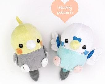 """PDF sewing pattern - Baby Bird stuffed animal - kawaii Cockatiel Parakeet chibi plush plushie 6"""" Robin Sparrow Crow Chicken Pokemon"""