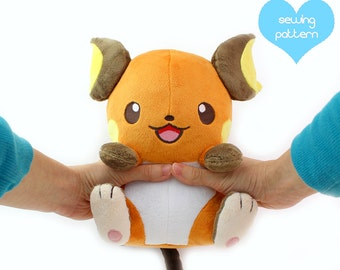 "PDF sewing pattern - Raichu Pokemon plush - kawaii plushie 11"" large stuffed animal anime sewing project for high quality designs"