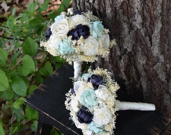 Mint Navy Bouquet Wedding Bouquet Peony Sola Bouquet Bridesmaid Bouquet Navy Bouquet Mint Bouquet Wedding Bouquet Navy Mint Bouquet Navy
