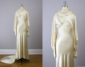 1920's Silk satin Wedding gown / Old Hollywood glamour / XS