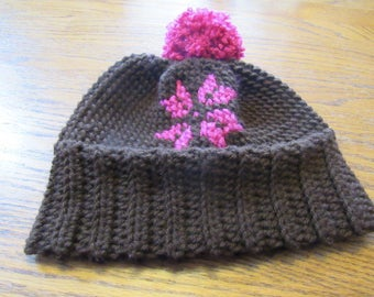 Crochet Hat - Brown and Hot Pink