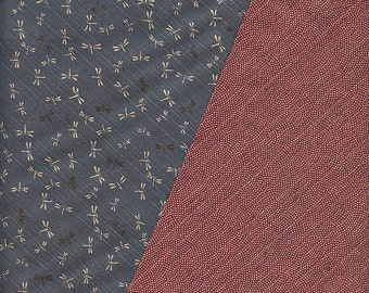 Double Sided Japanese Fabric: Slate Dragonflies/Red Waves (1/2 Yd Increments)