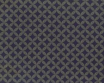INDIGO JAPANESE FABRIC: Interlocking Circles - Seven Treasures Design