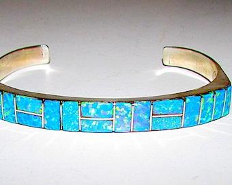 Navajo Sterling Silver Fire Opal Inlay Statement Cuff Bracelet Signed Native American Opal Bracelet