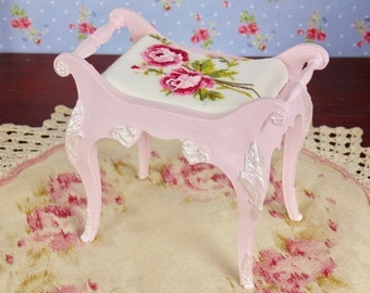 OOAK Susy Goose Barbie bench with hand embroidered cushion