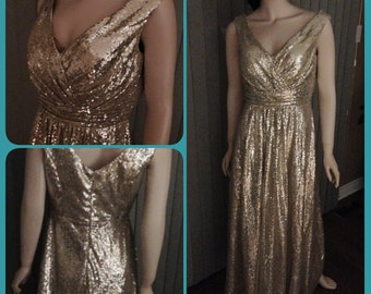 Champagne sequin dress, sequin bridesmaid dress, long sequin gown - Clearance