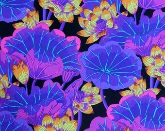 Black fabric with purple and yellow flowers