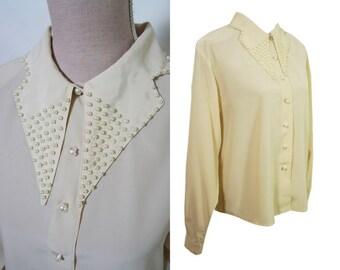 80s pearl beaded collar blouse. Vanilla silk polyester blouse.