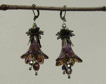 Handmade One of a Kind,Bronze and hand painted Lucite trumpet flower rustic, boho,dangle earrings