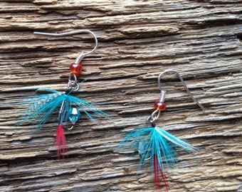 Salmon caddis fly earrings: turquoise and red fly earrings, fly fishing earrings, fishing jewelry, trout fly