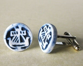 Porcelain Galley of Lorne cufflinks