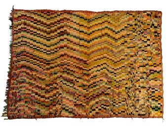 Retro zig-zag striped Moroccan Pile Rug - Hand Woven with 100% Wool 273x185cm