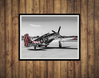 Red Nose and tail P51C Mustang WW2 Fighter Plane Photograph