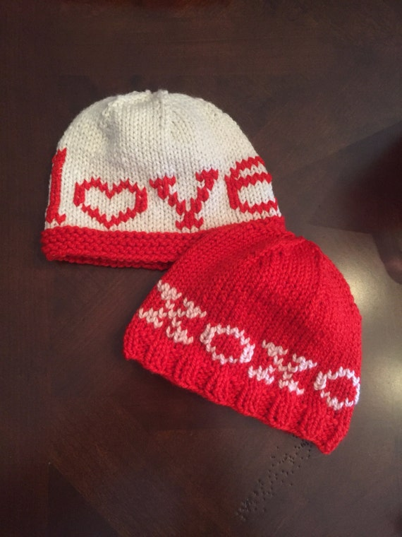 Hand-knit LOVE or XOXO Hat for Baby/Child
