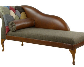 Patchwork Harris Tweed LHF Chaise Longue