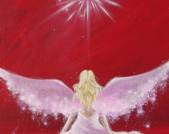 """Limited angel art poster """"Encounter"""", modern contemporary angel painting, nice wall hanging also perfect gift. Wall art by artist"""