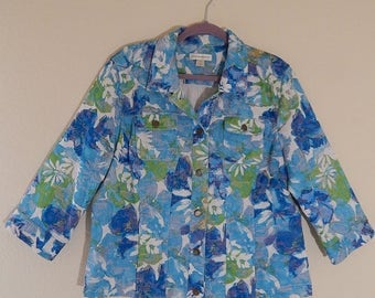Christopher + Banks XL Womens Blue Green White Floral 3/4 Sleeve Spring Jacket