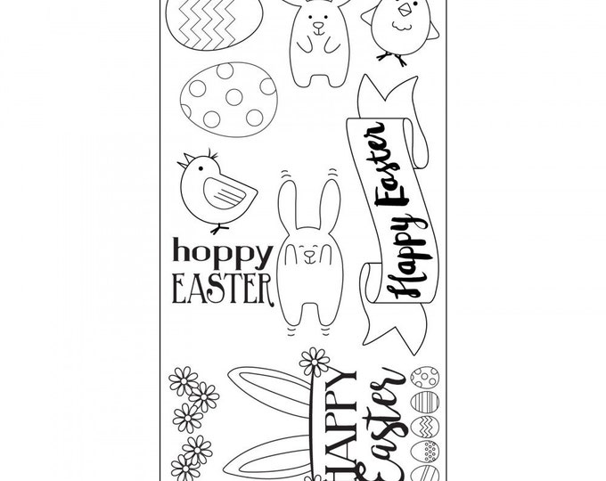 New! Sizzix Clear Stamps - Hoppy Easter - Easter Theme Stamps by Lynda Kanase 662000