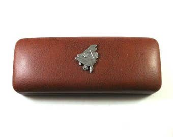 Piano Hand Cast Pewter Motif on Brown PU Leather Glasses Case Christmas Gift Musician Piano Teacher Gift