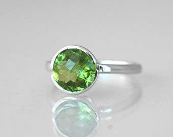 Peridot ring in sterling silver Solitaire engagement ring August birthstone Size 6 modern ring