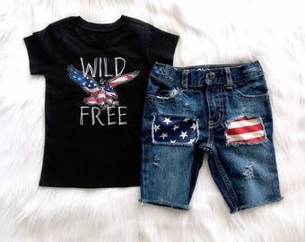 Wild and Free Boys 4th of July Shirt Toddler July 4th Baby Boys Outfit Patriotic Boy Outfit, 4th of July Boys Outfit Patriotic Denim