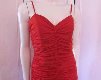 "1980s Red Ruched Jersey Gown by ""NADINE,"" Size 4 - 6"