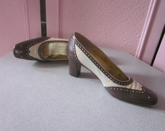 "1980s Brown and Beige Leather Spectator Pumps by ""Bruno Magli,"" Size 6-1/2 AA"
