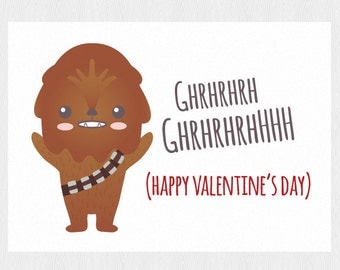 Schön Happy Valentineu0027s Card Star Wars Printable Card With Chewbacca   Funny  Valentine Card Instant Download