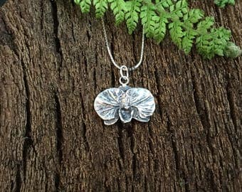 Silver orchid, moth orchid, orchid necklace, silver orchid pendant, orchid lovers gift, plant lovers gift, gift for mum, flower necklace
