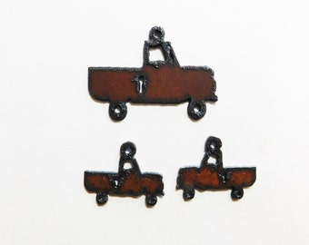 Rusted Metal Charm and rusted metal earrings in the image of a truck