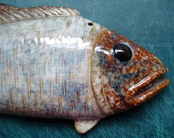 Vintage FISH Glazed Pottery Stoneware Wall Hanging Marine Nautical Cabin Ocean Home Decor