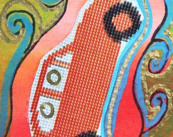 VW Bug 70's Ad Collage Original Art Bookmark