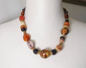 """Bohemian Gypsy Necklace Southwest Necklace Earth Tone Boho Style Chunky Beads Adjustable Large Assorted Beads Natural 20"""" to 22.5"""" SALE"""