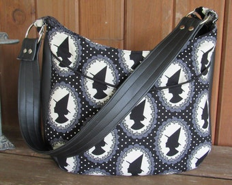 Shoulder Bag / Purse in Halloween / Witch / Wiccan Fabric - Hand Bag, Witches, Bats, Polka Dots, Vinyl, Gothic, Silhouette, Witch's Hat