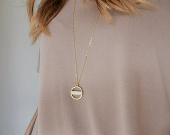 Gold Circle Necklace | Modern Necklace Long Pendant Necklace Gold and White Opal Necklace Boho Necklace Simple Necklace Circle Charm