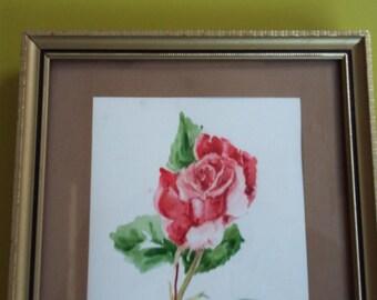 Original Floral Watercolour. Red Rose