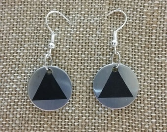 Circle and triangle stainless steel earrings, AA, recovery, Alcoholic Anonymous, jewelry