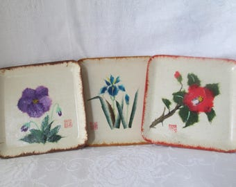 Vintage Asian Pressed Paper Flower Coasters/Trinket Dishes, Set of 3