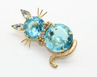 Estate Aqua Blue Rhinestone Kitty Cat Kitten Pin Brooch-Gold Tone Jelly Belly Vintage Estate Jewelry!