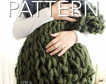 "SALE! Knit Blanket Pattern // Chunky Blanket // Arm Knit Blanket // Beginner's Pattern // Simply Maggie // 60"" by 36"""
