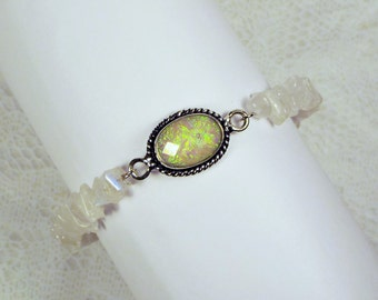 "Cynthia Lynn ""COLOR PLAY"" Sterling Silver Australian Triplet Opal and Moonstone Beaded Bracelet"