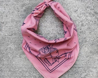 """Hand dyed and hand screen printed 100% cotton bandana in Salmon Pink - """"keep your chin up"""""""