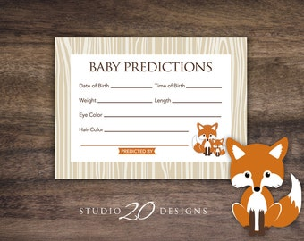 Instant Download Fox Prediction for Baby Cards, Printable Boy Fox Predictions, Baby Boy Woodland Baby Shower Games 65C