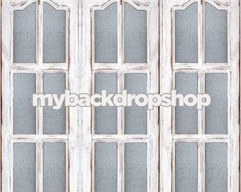 2ft x 2ft Cottage Window Photography Backdrop – Painted White Windowpane Door Photo Backdrop – Item 1773