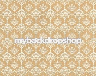 2ft x 2ft Beige Damask Wallpaper Photo Prop - Tan Damask Patterned Photography Backdrop - Neutral Wedding Photography Prop - Item 3218