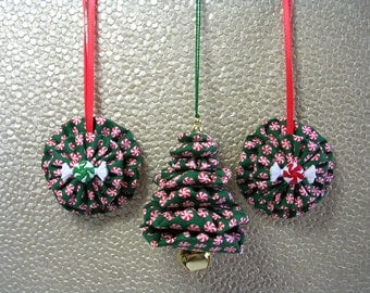 Peppermint Candy Christmas Tree Ornaments, Peppermint Candy Fabric Ornaments, Yo Yo Ornament, Suffolk Puff Ornament (Set of 3)